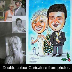 caricature of wedding couple